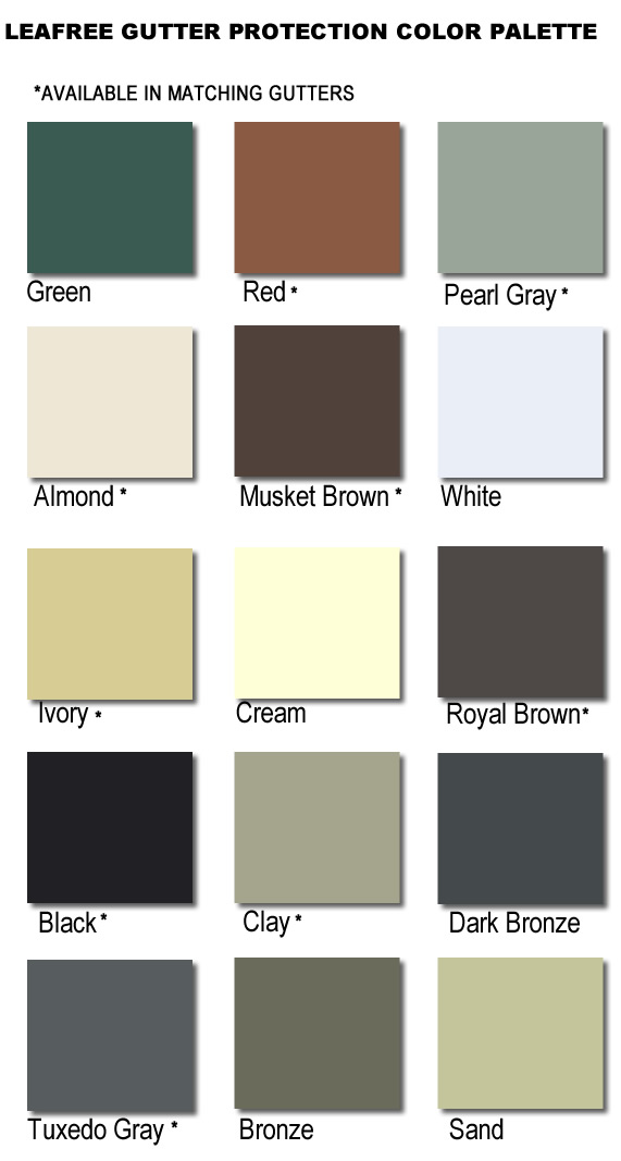 LEAFREE GUTTER PROTECTION COLOR PALETTE